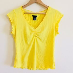 Calvin Klein Yellow Ruched Cleavage Top